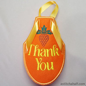 Wine Bottle Apron Thank You - a-stitch-a-half