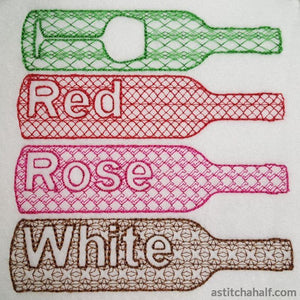 Wine Bottles Embroidery Fill