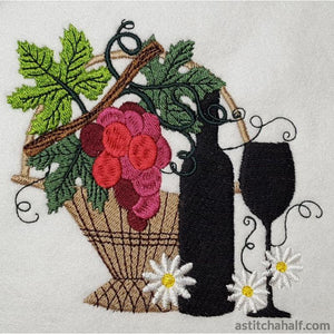 Wine With Basket Embroidery Fill