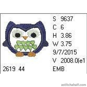 Zigzag Owl Embroidery Fill