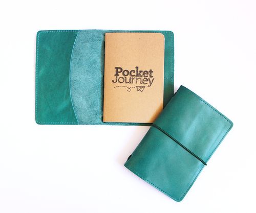 PaperMe, porta documento, cuero, porta pasaporte, pocket journey, pocket, midori, traveller, turquesa