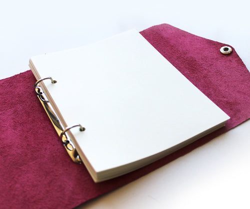PaperMe, libreta, cuero, rollup, planner, enrollable, flexible, personalizable, pink