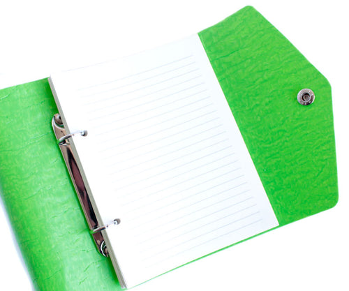 PaperMe, libreta, cruelty free, vegan, reciclable, rollup, planner, enrollable, flexible, personalizable, lime, verde, lima