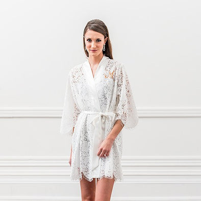 White Lace Bridal Robe - Bridal Show Time