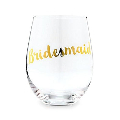 Bridesmaid Stemless Wine Glass - Metallic Gold - Bridal Show Time