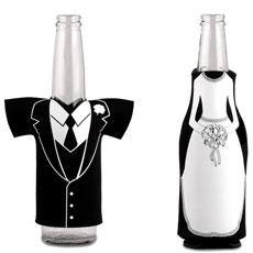 Bride & Groom Koozie Bottle Holder Favour Wedding Dress Zippered - Bridal Show Time