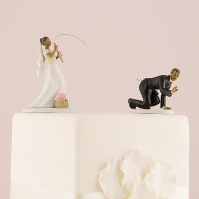 "Catch of the Day Bride and Groom Cake Topper ""Caught"" Set - Bridal Show Time"