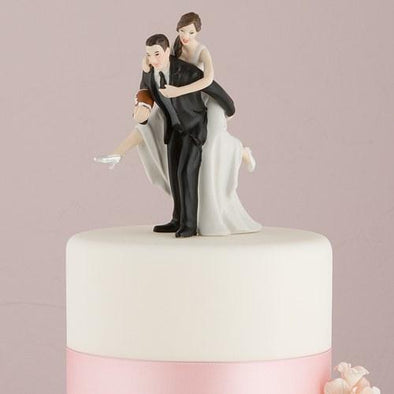 Football Piggy Back Bride and Groom Cake Topper - Bridal Show Time