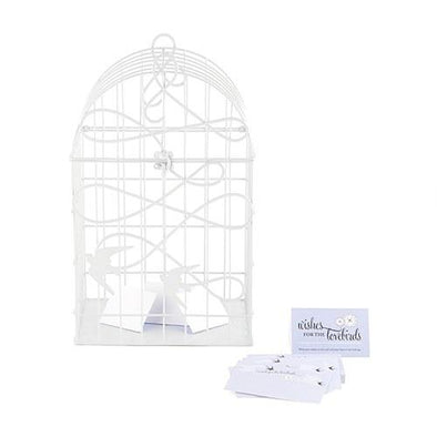 Modern Decorative Birdcage with Birds in Flight - White - Bridal Show Time