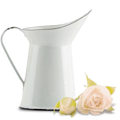 Vintage White Enamelware Pitcher Wedding Favor Set Of 4 - Bridal Show Time