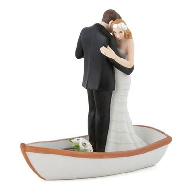 """Row Away"" Wedding Cake Topper in Rowboat Figurine - Bridal Show Time"