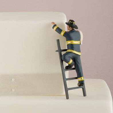 """To the Rescue!"" Fireman Groom Figurine Wedding Cake Topper - Bridal Show Time"