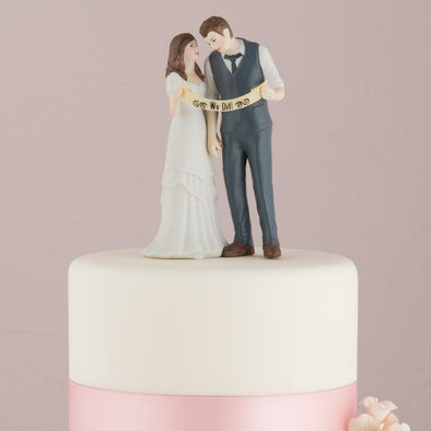 """Indie Style"" Wedding Couple Figurine Elopement Annoucement Wedding Cake Topper - Bridal Show Time"