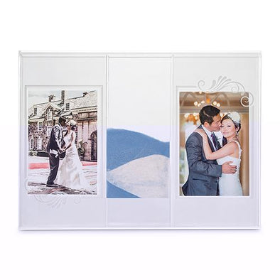 "Engraved ""Clearly Love"" Sand Ceremony Shadow Box with Photo Frames - Bridal Show Time"
