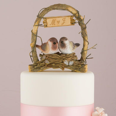 """A Love Nest"" - Love Birds in Archway Wedding Cake Topper - Bridal Show Time"