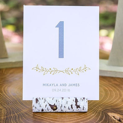 Wedding Card Faux Birch Log Holders set of 6 - Bridal Show Time