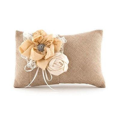 Burlap Chic Ring Pillow Mocha Mousse - Bridal Show Time