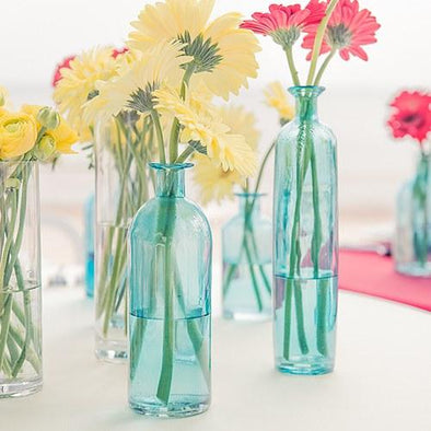 Decorating Glass Bottle Set - Clear, Blue or Purple - Bridal Show Time