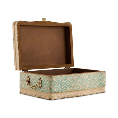 Vintage Inspired Wood Case with Hinged Lid Sea Blue - Bridal Show Time