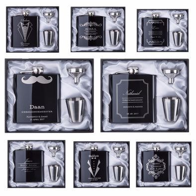 Personalized Groomsman Gift  Engraved 6oz Hip Flask Stainless Steel With White & Black Box Gift Wedding Favors - Bridal Show Time