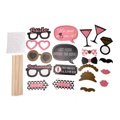 20 Pcs Wedding Party Photo Booth Props - Bridal Show Time