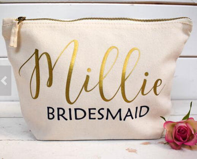 4 Personalized Bridesmaid  Make Up Gift Bags for Bridal Party - Bridal Show Time