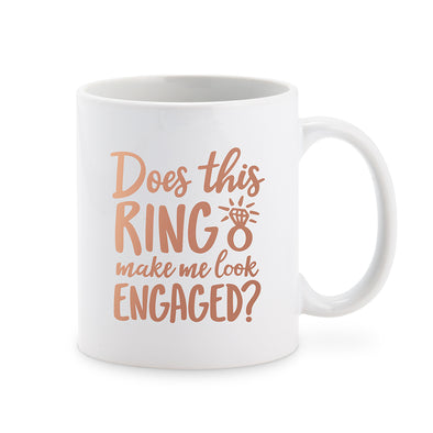 Personalized Coffee Mug - Does This Ring Make Me Look Engaged? Black - Bridal Show Time