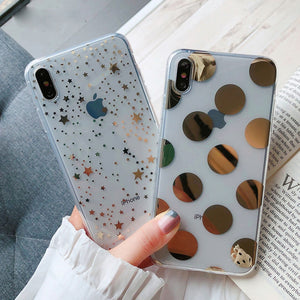 Gold Dots And Stars iPhone Case