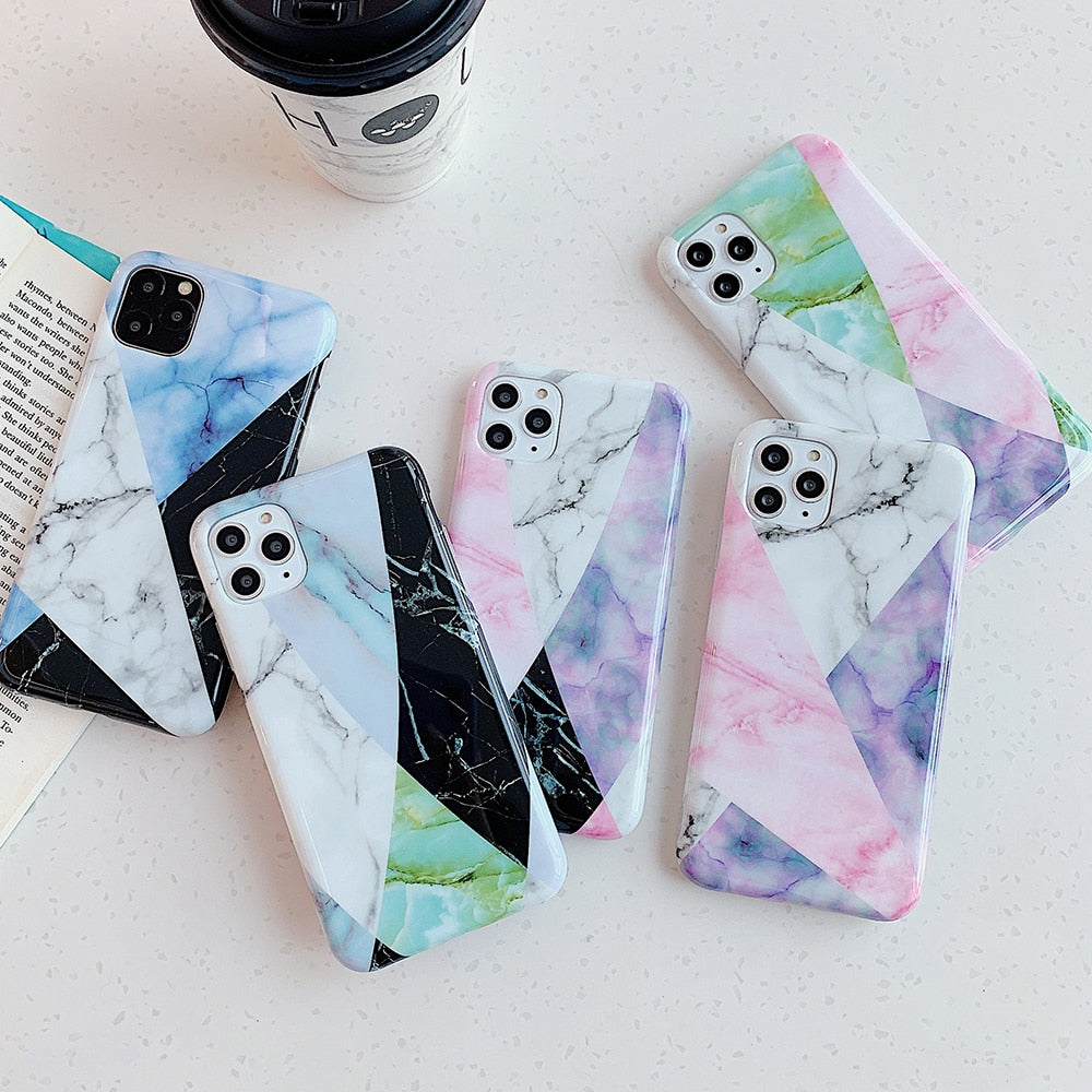 Colorful Geometric Marble iPhone Case - Casefy Shop