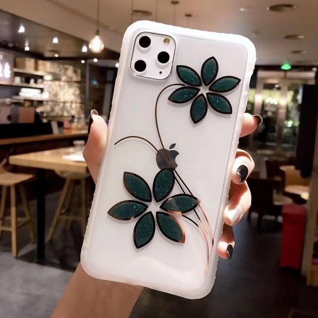 Glitter Flower Shockproof iPhone Case