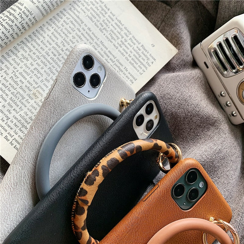 Leather Ring Holder iPhone Case