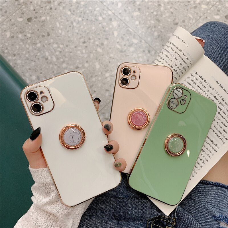 Glossy Ring Holder iPhone Case