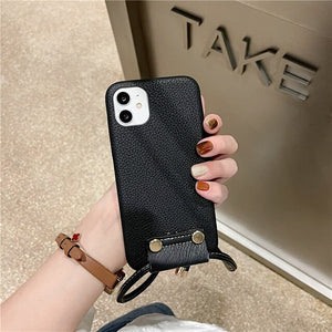 Shoulder Strap Leather iPhone Case