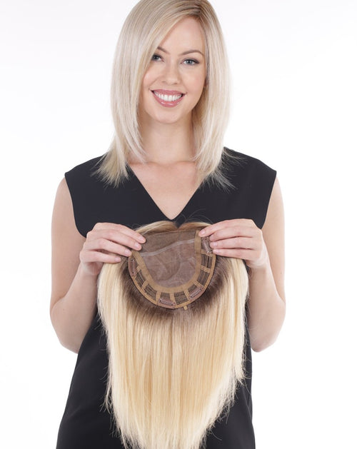 Belle Tress remy human hair lace front hair topper Beach Blonde