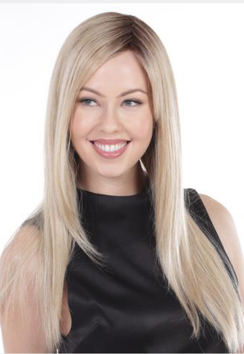 Belle Tress Straight Press 23 inch synthetic wig Honey Chai with Latte