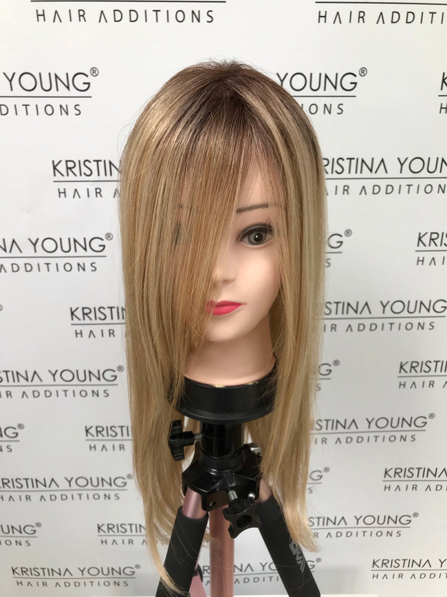 "TOPPER RENTAL : Belle Tress - Lace Front Mono Top Straight 18""  (Colour - Honey Chai with Latte)"