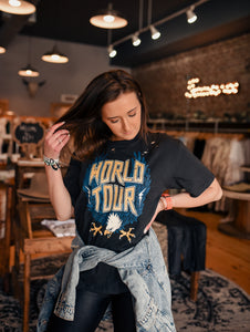 Distressed Black World Tour Tee 2542
