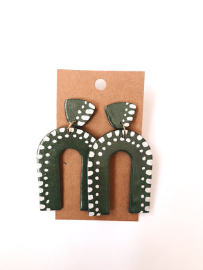 Painted Arch Clay Earrings in Evergreen
