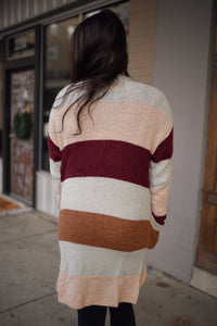 Maroon/Grey Color Blocked Cardigan 2898