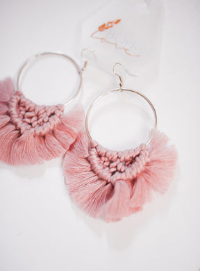 Mauve Macrame Hoop Earrings