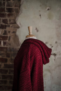 Burgundy Hooded Popcorn Texture Pullover 2291