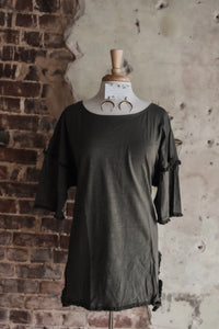 Olive Short Sleeve Fringe Top 2191