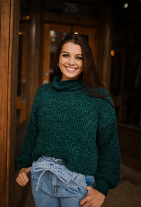 Deep Green Turtleneck Chenille Cropped Sweater 2816