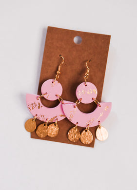 Pink + Gold Bohemian Clay Earrings