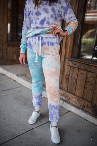 Lavender/Blue/Peach Tie Dye Sweatpants  2701