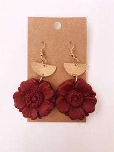 Christmas Poppie Clay Earrings in Cranberry