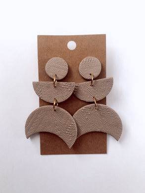 Tan Textured Crescent Moon Clay Earrings