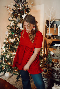 Christmas Red Ruffle Top 2881