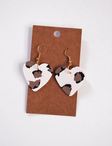 Leopard Heart Clay Earrings