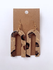 Leopard + Gold Skinny Arch Clay Earrings